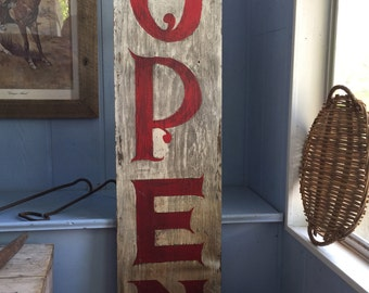 """Sold: Convo for Custom Storefront Business Sign """"OPEN"""" Wooden Sign Hand Painted Photo Prop"""