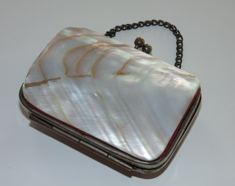 ANTIQUE RARE Victororian Vintage Amazing French Late 1800's Double Abalone Shell Little Purse Wallet Coin Holder Clasp Working