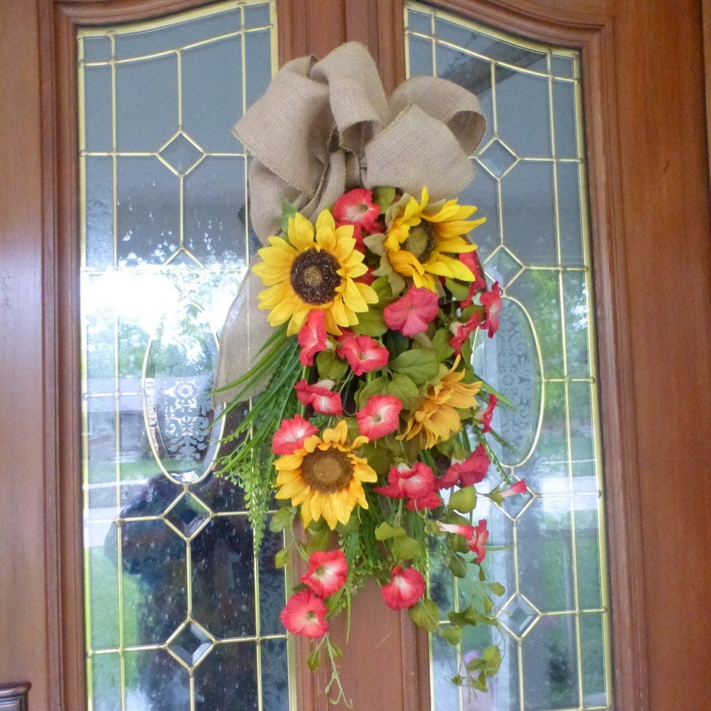 Fall Door Swags: Sunflower Door Swags Summer Swags Spring Wreaths Porch