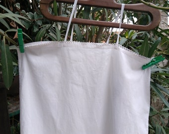White Slip French 1900's Cotton Slip Dress Handmade Medium Large #sophieladydeparis