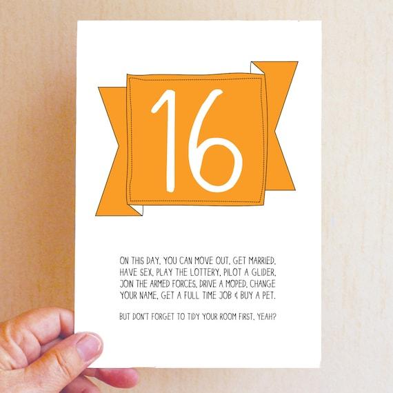 16th Birthday Card / Funny Birthday Card / Funny 16 Card / On