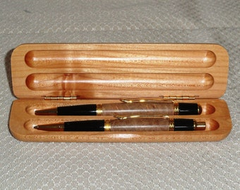 Gold Wall Street II pen and pencil set with Cherry Burl body