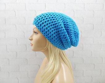 Neon Blue Slouchy Hat, Crochet Winter Hat, Slouchy Winter Hat, Crochet Beanie, Womens Beanie, Oversized Hat, Neon Beanie, Slouch Hat