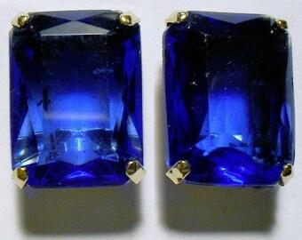 Bluest Blue Art Deco Screw Back Earrings Marked Sterling/ Valentine Sale was 34.00