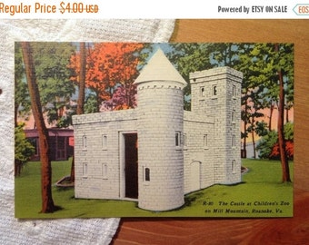 SALE Vintage Postcard, Castle at Children's Zoo, Mill Mountain, Roanoke, Virginia - 1940s Linen Paper Ephemera