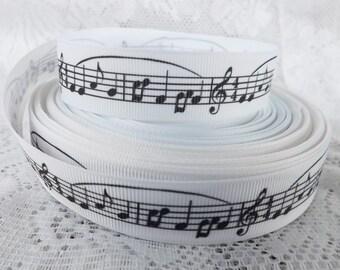 "Sheet Music Ribbon Music grosgrain ribbon musical notes 7/8"" grosgrain ribbon"