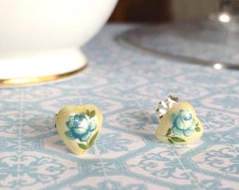 Heart Shape Earrings | Floral Limoge Stud Earrings | Blue Rose Earrings | Blue Rose Studs | Sterling Silver Posts | Limoge Stud Earring
