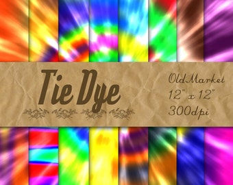 Tie Dye Digital Paper - Colorful Tie-Dye Digital Paper Pack - 16 Designs - 12in x 12in - Commercial Use - INSTANT DOWNLOAD