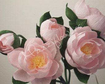 Wedding flowers,paper flower lotus, water lily, 5 pcs, wedding decor,paper flower decor,bridal paper flowers lotus pink ,