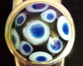 Blue and white Lampwork noosa compatible snap.
