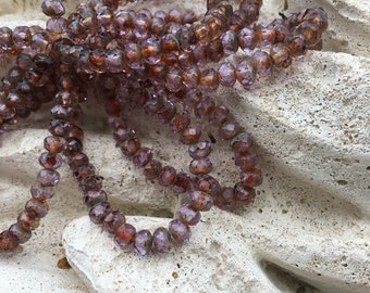 5x3 lavender picasso czech glass rondelle beads