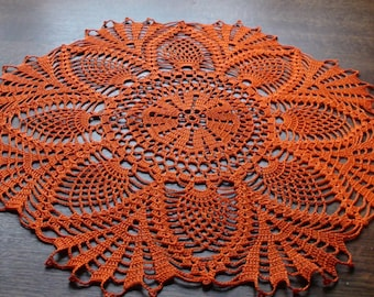 Crocheted doily Crochet doilie Orange doily Handmade doily Lace doilie Lace doily Table decoration