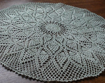 Crocheted doily Light green-grey doily Lace doily Handmade doily Crochet doily