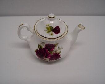 Fine Bone China Tiny Teapot, Miniature Teapot, Deep Pink Roses, Gold Trim