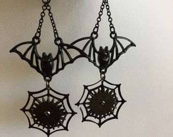 Steampunk Bat Earrings