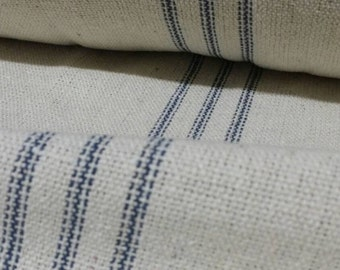 "SALE Grain Sack Fabric By The Yard - Farmhouse Fabric - Cream Fabric - Blue 9 Stripe - 54"" Wide - Upholstery Weight - WAS 14.99"