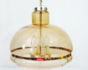 Vintage Mid Century Amber Brown Smoked Glass Ceiling Light Fixture Chandelier