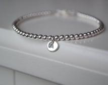 Sterling Silver Initial Bracelet,  3 mm beads  Sterling Silver , Sister bracelet, Mother Daughter Bracelet, Best Friend Bracelet