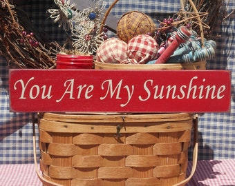 """You Are My Sunshine painted wood sign 3.5"""" x 18"""" choice of color"""