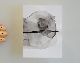 A6 Original abstract art ink drawing -Arrow, explosion, nature, movement, on the point modern minimal ink dark wall decor by Cristina Ripper