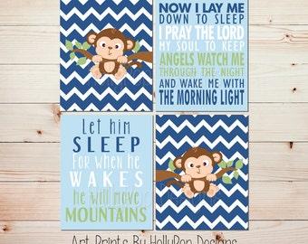 Baby boy nursery art Monkey nursery artwork Let Him Sleep Blue green nursery decor Now I lay me down Children's Bedtime prayer prints #1451