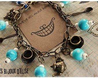 Alice in Wonderland Charms Bracelet Antique Bronze - Gift Under 10