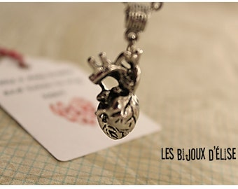Anatomical Heart Charm Necklace Heart Pendant Antique Silver