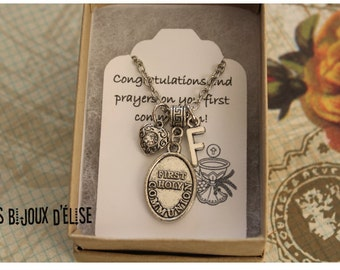 Sale - Personalized First Holy Communion Necklace Antique Silver