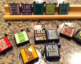 Book Club Funny Truths Custom Set of 8 Scrabble Tile Wine Glass Charms