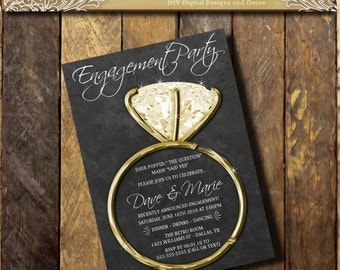 Engagment Party Invitation, Engagement Party invite,Announcement Chalkboard invitations, Couples Shower, Silver Diamond Ring, BLING Invite
