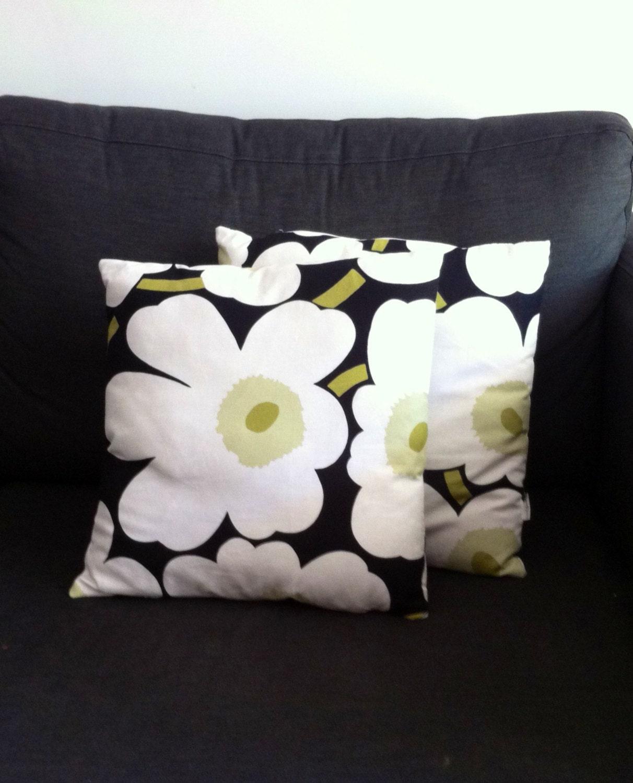 Marimekko Throw Pillow Covers Set of 2 Flower Pillow Shams
