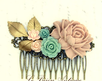 Bridal Hair comb with flowers in Pale brown Beige mint green and pale Pink antique style wedding hair accessory with Roses and Leaves