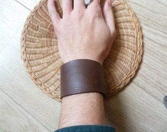 Simple brown leather cuff bracelet