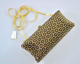 Swarovski ELEMENTS Gold Black Leopard pattern animal Crystal Minaudiere Metal rectangle clutch purse bag
