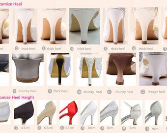 Custom Bridal Shoes Heel height, Wide or Narrow Fitting Change