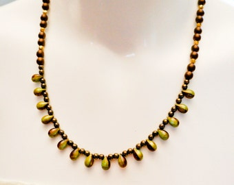 Jewellery, Brown Green necklace, Statement necklace, teardrop necklace, modern necklace, Classic Retro necklace, Elegant necklace, OOAK,