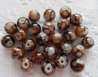 25  Brown & White Marbled Round Glass Beads  6mm
