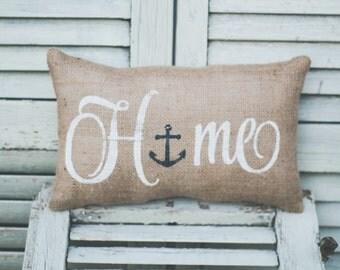Home Decorative Pillow Decor Pillow Home Pillow ,Burlap pillow , fabric pillow , anchor accent, beach decor, home decor 14x9 accent pillow