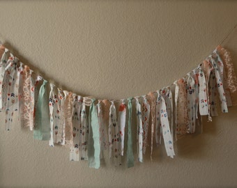 Coral, mint and gold fabric banner with lace