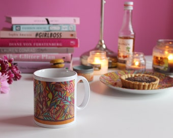 SALE: Orange Leaves Pattern, Colourful Mug, Ceramic Mug with Pattern, Bright Pattern Mug, Colourful Housewarming Gifts, Nature Lovers,