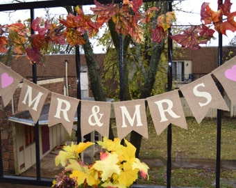 Burlap Banner  MR&MRS  Banner Engagement Party  Bunting Garlands Bridal Shower Burlap Banner