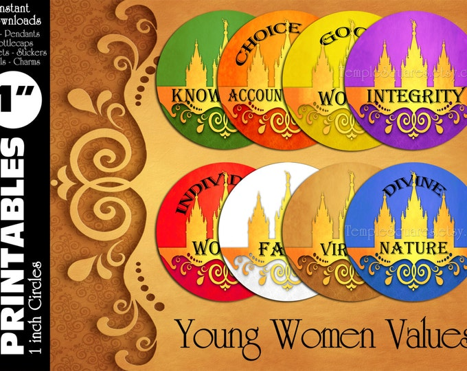 "YW Young Women Values Printable 1"" inch circles. matches ""Press Forward"" mutual 2016 theme charms, stickers, or necklace kits"
