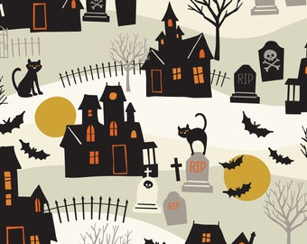 2016 Spooktacular Haunted Ivory, Fabric Yard by Maude Asbury for Blend Fabric, Halloween, Haunted House, Bats 101.107.014.2