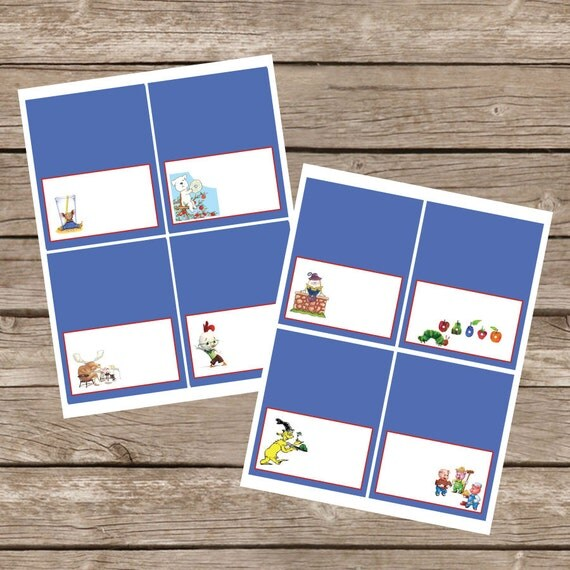 Baby Shower Seating: Book Themed Baby Shower Tent Cards For Food Or Seating
