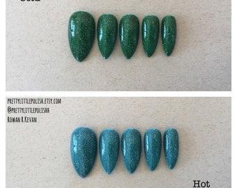 Colour changing stiletto nails, Thermal nails, Nail designs, Nail art, Nails, Stiletto nails, Acrylic nails, Pointy nails, Fake nails, False