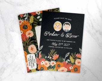 FRIENDLY FLORAL ILLUSTRATED |  illustrated couple's save-the-date postcards