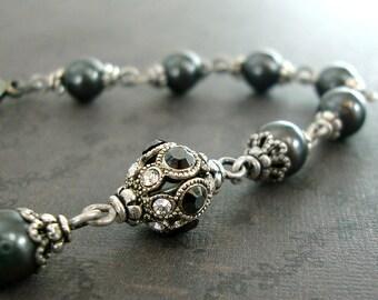 Swarovski Crystal Monochrome Bracelet - Gunmetal Pearl Antique Silver Filigree Crystal Rhinestone Bead - Black and White Victorian Jewelry