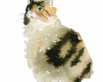 Cat Art - Calico Cat Watercolor - Fine Art Print - Cat painting - Calico watercolor