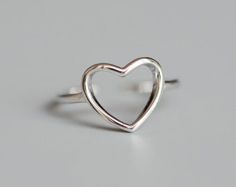 925 Sterling Silver Heart Love Adjustable Ring 1195