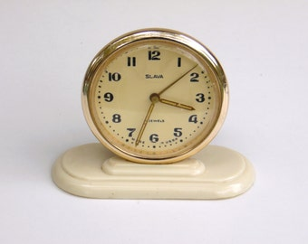 SLAVA - Vintage Mechanical Alarm Clock - from Russia / Soviet Union / USSR